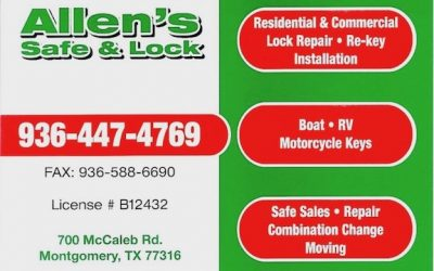 Contact information and service listing of Allens Safe & Lock, a Montgomery TX Locksmith