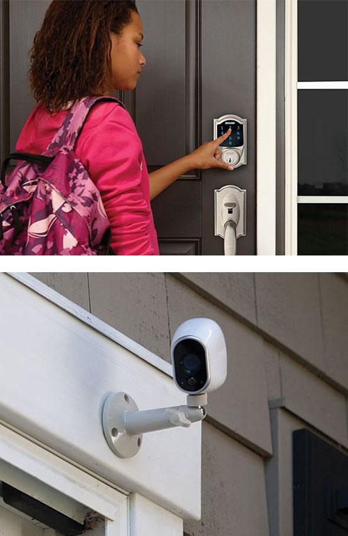 image of a residential keypad smart lock and a wall-mounted security camera