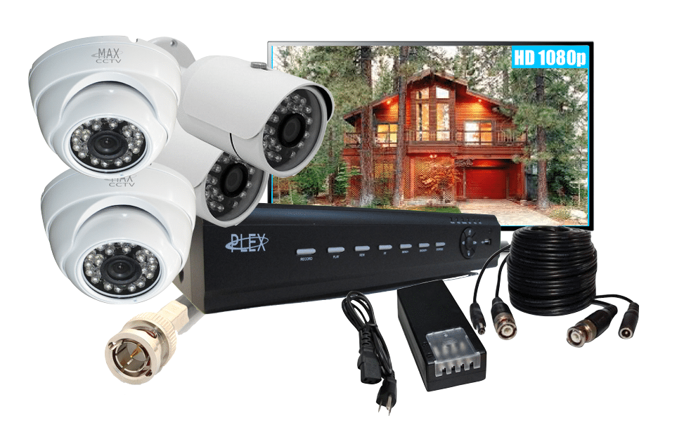 image of a home security system including cameras and a recording device